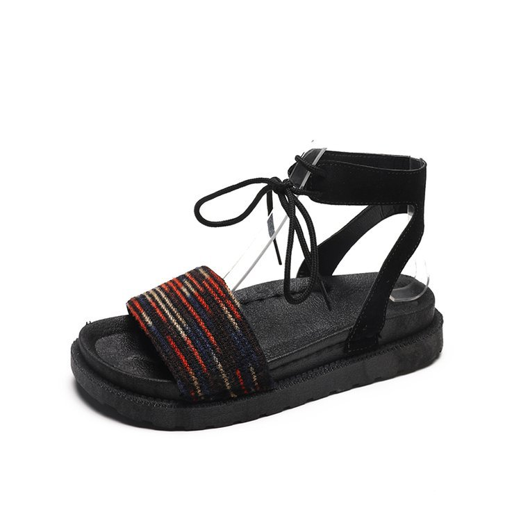 Casual Lace-up Rome Gladiator Women Sandals Solid Ankle Strap Shallow Women Shoes Summer Fashion Flat Sandals 5
