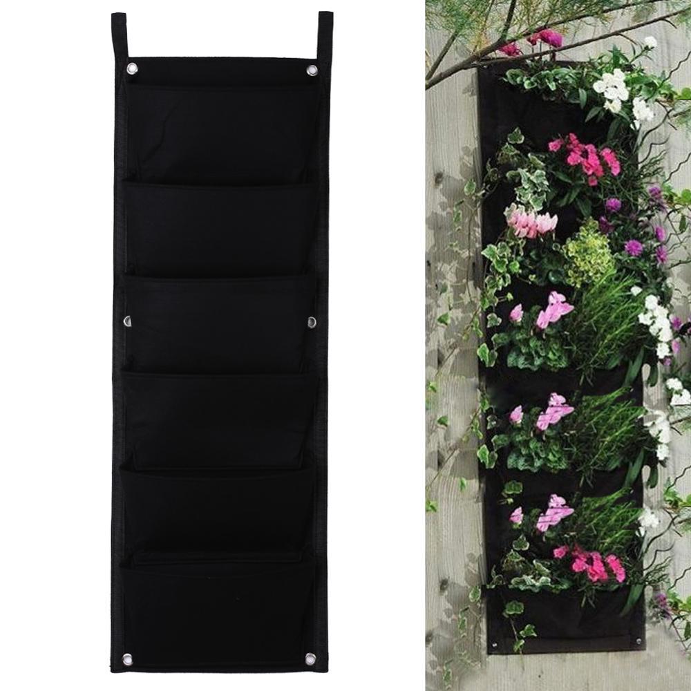 2017 6 poches noir suspendu vertical mur planteur de jardin plantation de fleurs sacs pot accueil