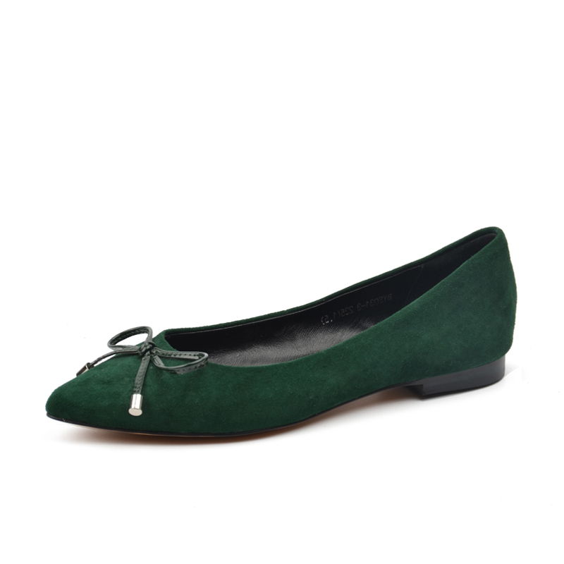Cuir Dames À Printemps green En 2019 Chaussures Black Noir Vert Ballerines Bout nude Pointu Arc Donna Femmes Gris Véritable dans wFA7OgpqX