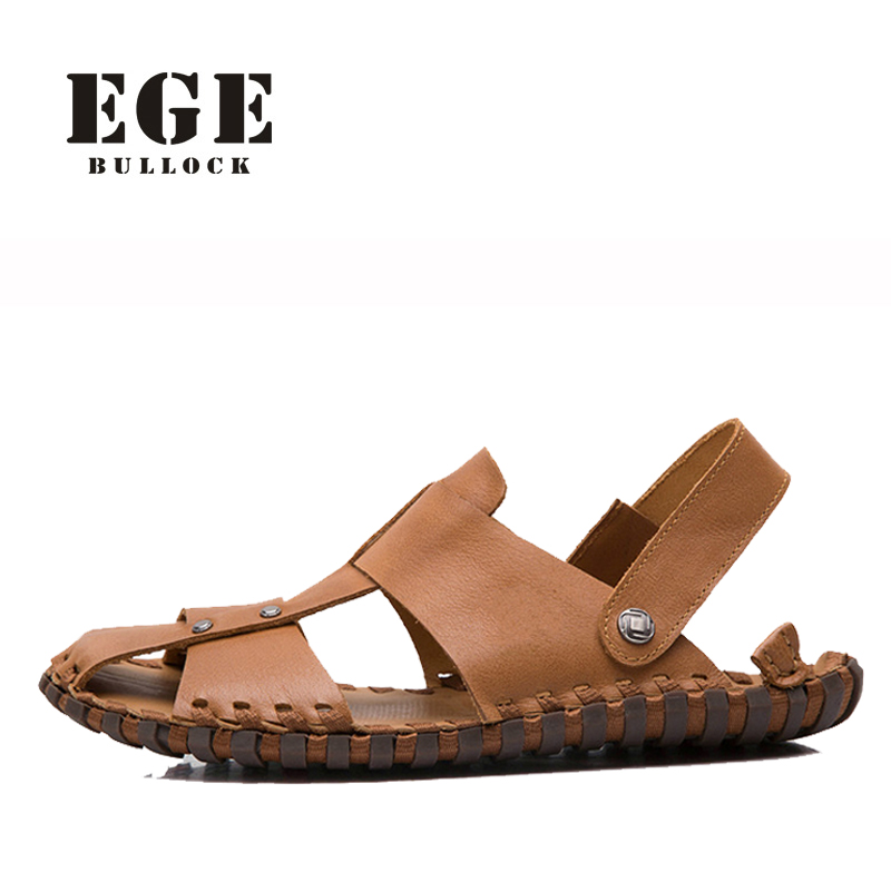 Summer Shoes EGE Brand Concise Slip-On Men Flat Shoes Casual Shallow Genuine Leather Soft Beach Sandals Shoes for Men