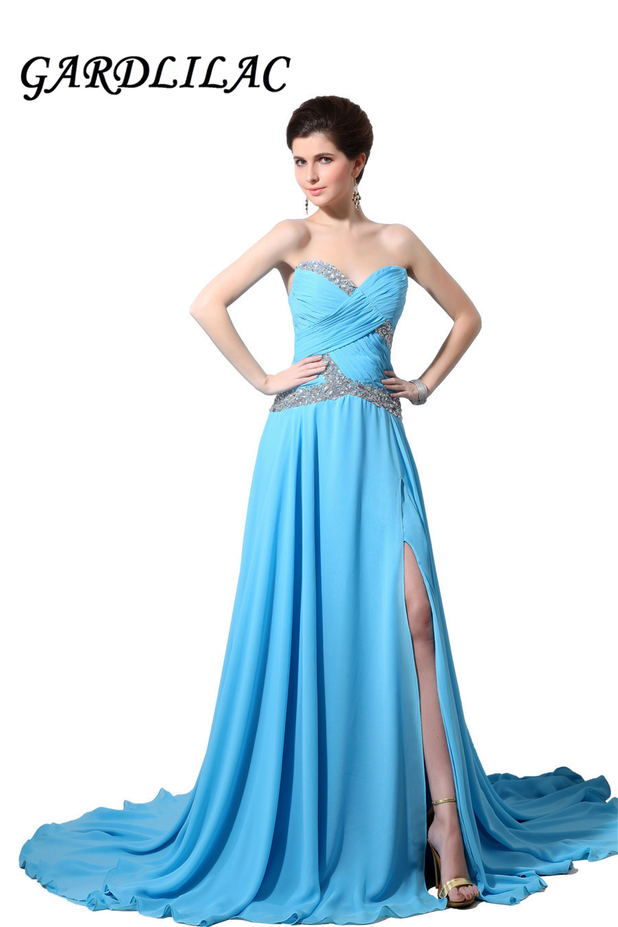 Gardlilac Chiffon Off Shoulder Long Evening Dress med Beading Blue Side Split Formell Kväll Party Dress