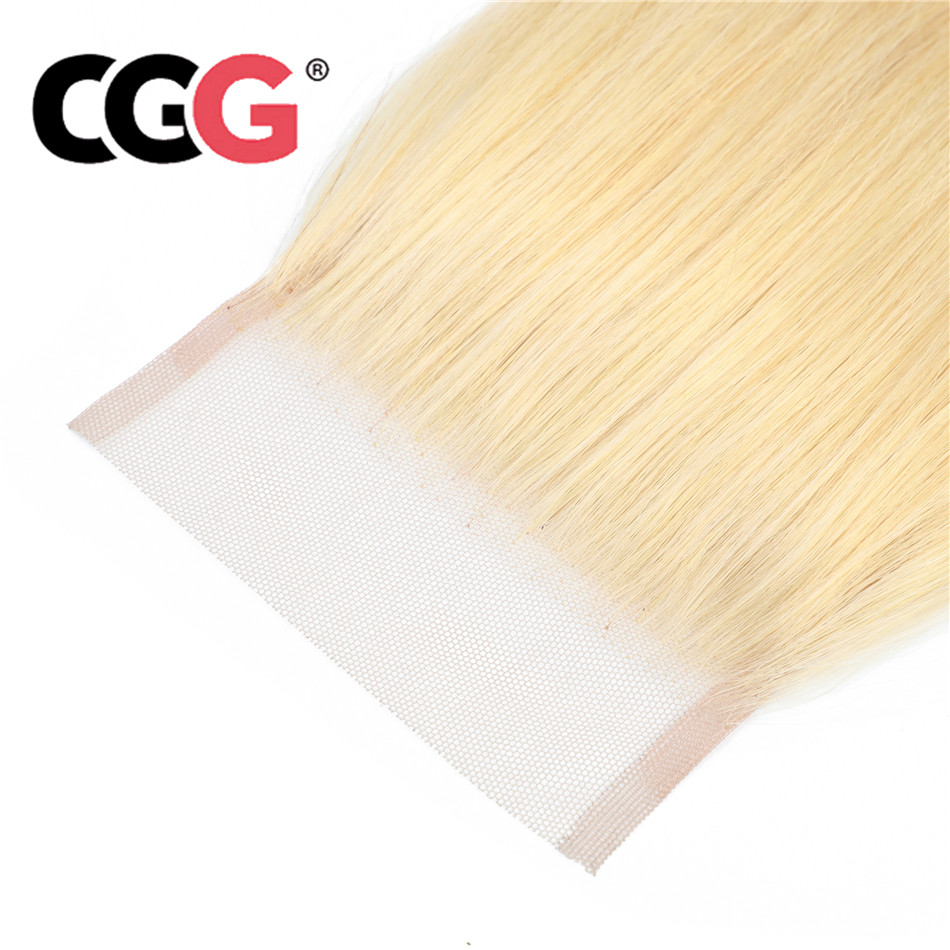 CGG Closure Blonde Baby-Hair 613 Lace Indian Straight with Colored Pre-Plucked Non-Remy