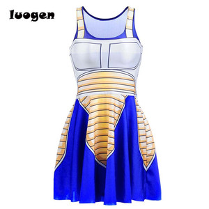 Image 3 - Sexy Girl Summer Dress Dragon Ball Cosplay Son Goku Vegeta Reversible Sleeveless Skater Women Pleated One Piece Dress Plus size