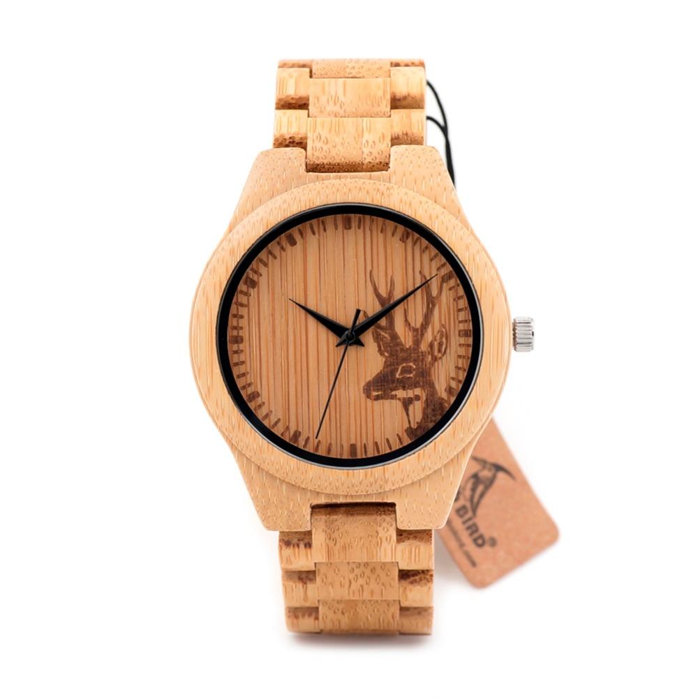 BOBO BIRD D028 Mens Wooden Watch Engraving Deer Design Japan Movement Quartz Wristwatch Folding Clasp reloj
