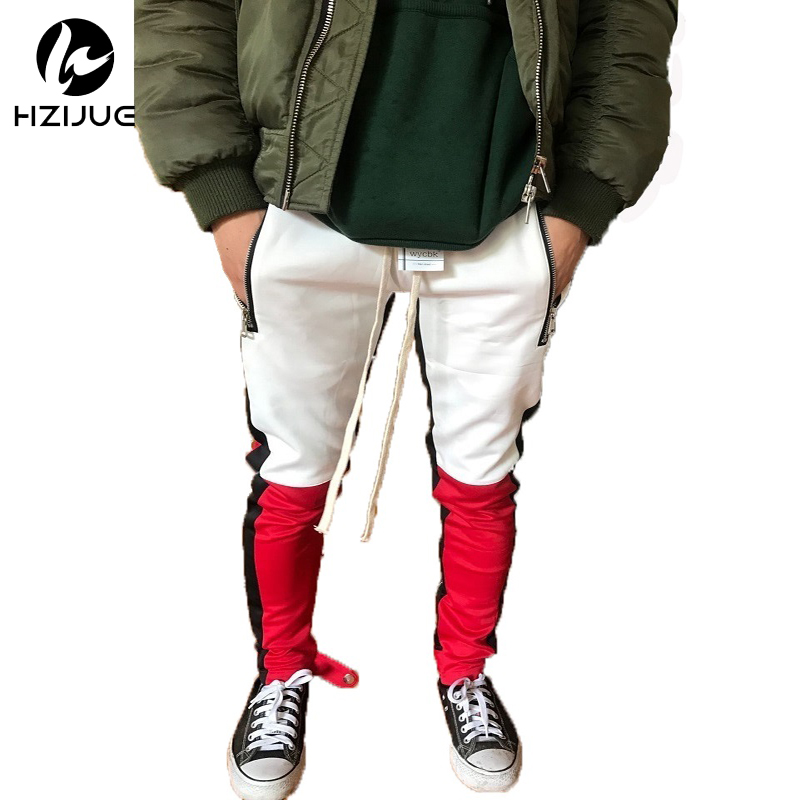 HZIJUE Brand Street Retro Patchwork Pants Hit Color Stitching Side Stripes Elastic Mens Hip Hop Rap Sweatpants Joggers 2018