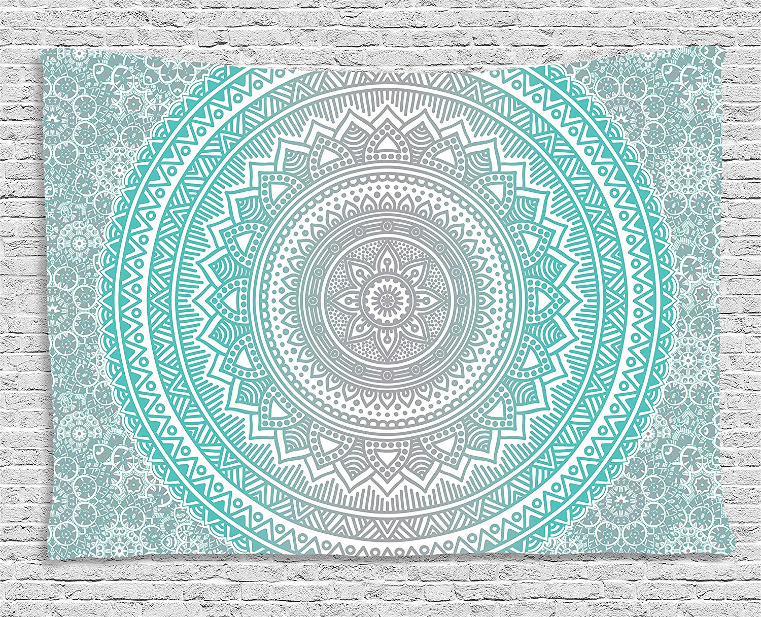 Grey and Aqua Tapestry, Ombre Traditional Universe Symbol with Tribal Geometric Mandala  ...