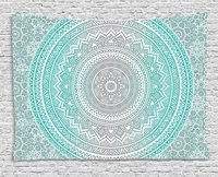 Grey and Aqua Tapestry, Ombre Traditional Universe Symbol with Tribal Geometric Mandala Zen Artwork,Wall Hanging Tapestry