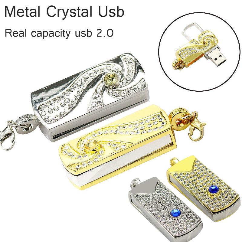 real capacity Metal Crystal gold rotary Key Chain USB 2.0 USB Flash Drive 64GB 8GB 16GB 32GB Memory Stick disk on key Pen drives universal sports racing stripe graphic stickers truck auto car body side door decals