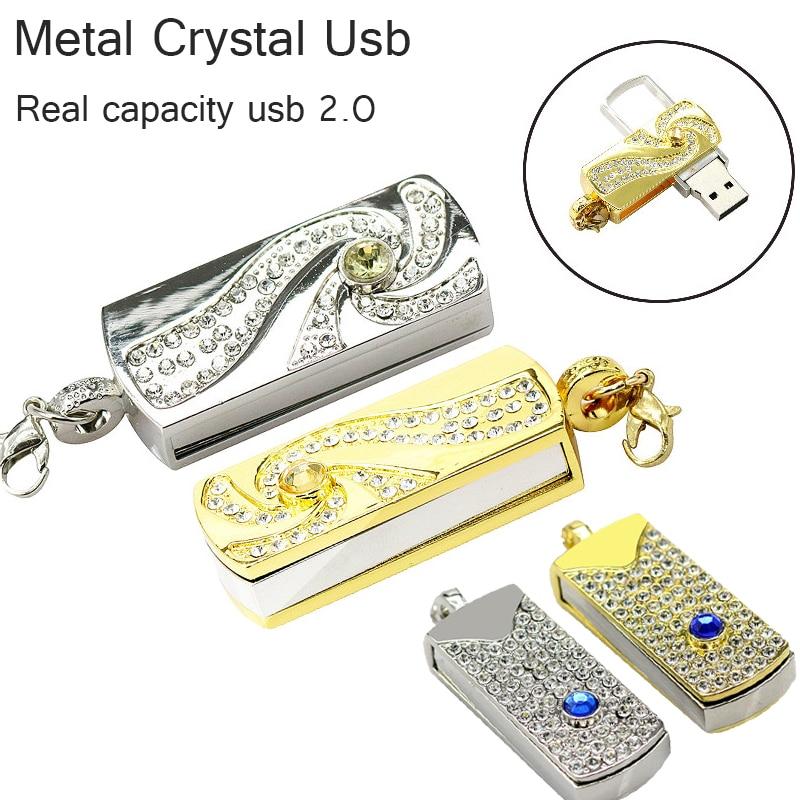 реальна ємність Метал Кристал золота поворотний брелок USB 2.0 USB Flash Drive 64ГБ 8ГБ 16ГБ 32 ГБ Memory Stick диск на ключових ручках