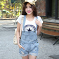 large size women's spring and summer hole denim shorts overalls