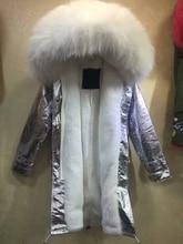 New Fashion Warm Women Slim Long winter Jacket Fur Collar Parka golden long coat with mrs fur lined Winter Coat Factory Price