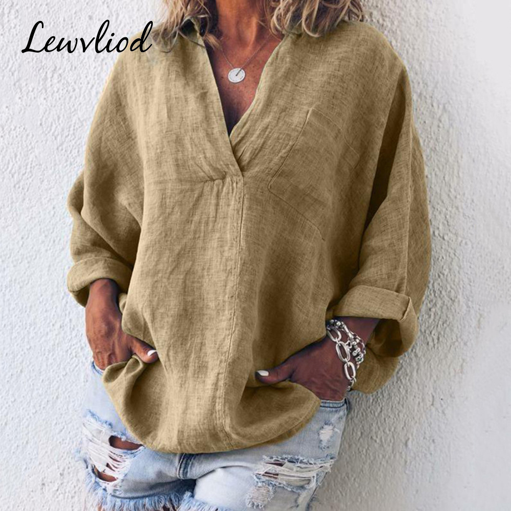 2019 Ladies Summer Cotton Linen   Blouse   Short Fashion Solid V Neck   Shirt   Long Sleeve Simple Design Women Clothing Blusas   Blouses
