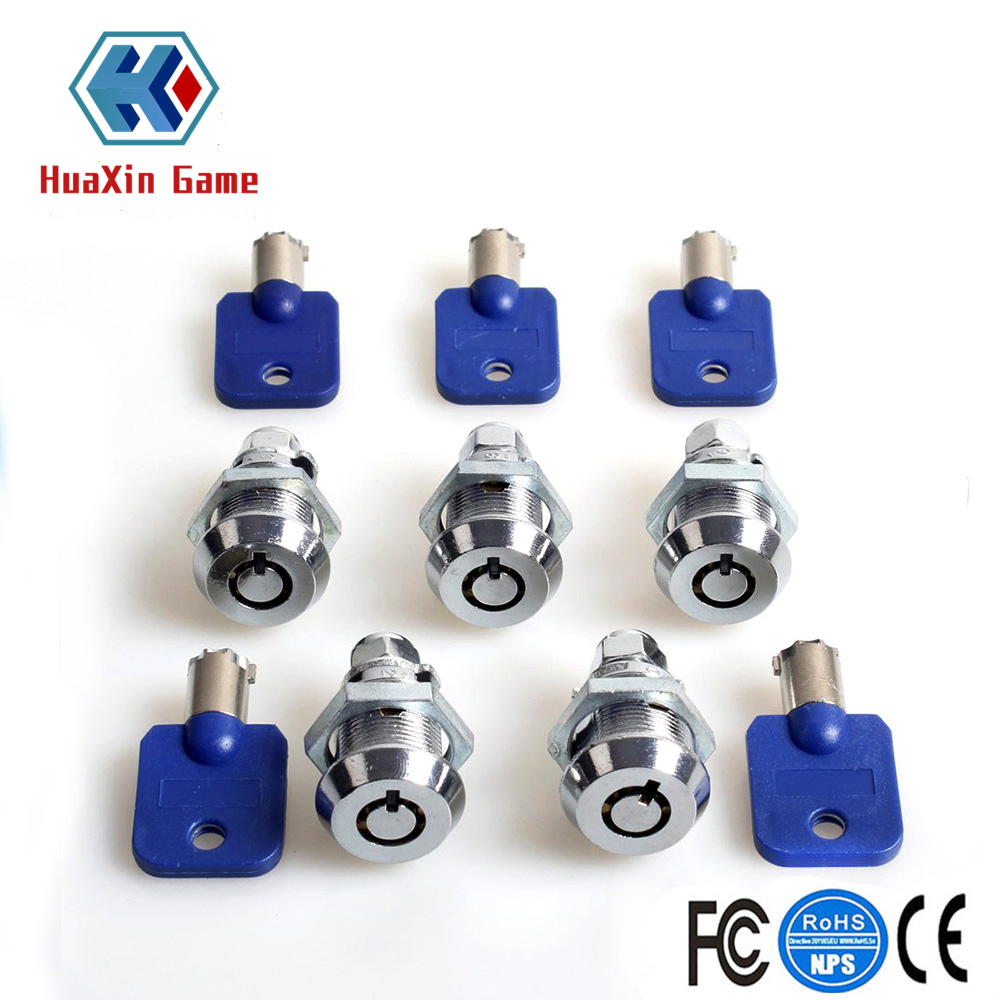 Dedicated 5pcs /lot Arcade Machine Parts Short Cash Door Tool Box Tubular Cam Locks Entertainment Same Number Keys For Arcade Game Machine Strengthening Sinews And Bones Coin Operated Games