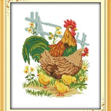 DIY Needlework embroidery 11CT The chicken family 2 dimnsions cross Sti