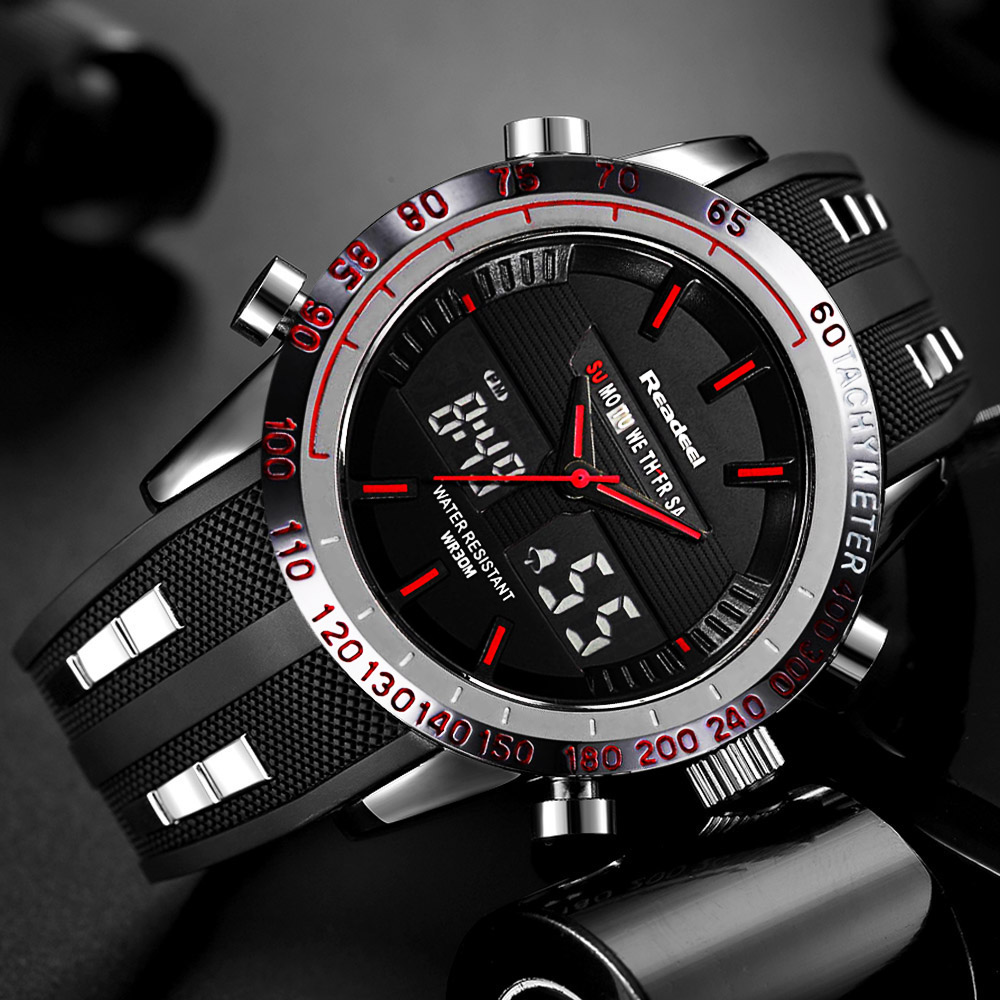 Readeel Brand Sport Watch Mens Watches Top Brand Luxury Men Wrist Watch Waterproof LED Electronic Digital Male relogio masculino