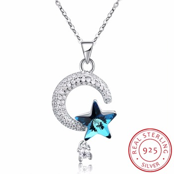 LEKANI Crystals from Swarovski Pure S925 Silver Jewelry Luxury Blue Crystal Necklace Moon Star Pendant Necklace for Mom