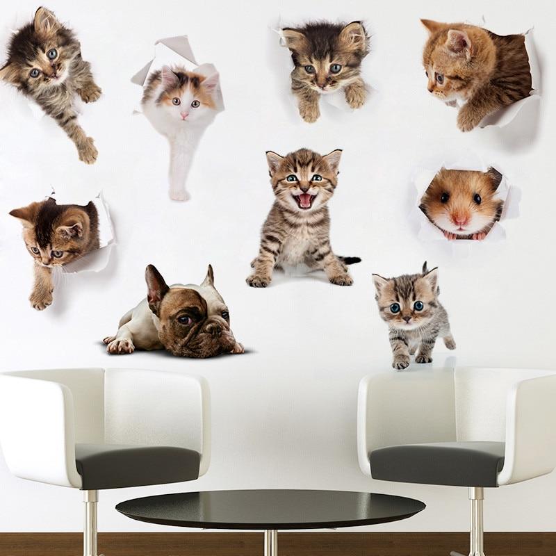 Прекрасный Забавный 3d vivid отверстие кошка Мышь собака стены Стикеры Ванная комната туалет шкаф Спальня дверь украшение стены наклейки Книг...