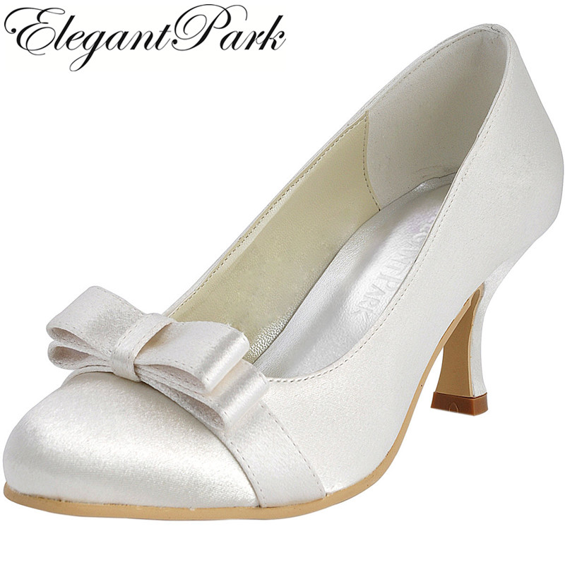 Shoes Woman EP11019 White Ivory Closed Toe Mid Heel bows Satin women's wedding shoes lady bridal shoes comfortable Wedding Shoes