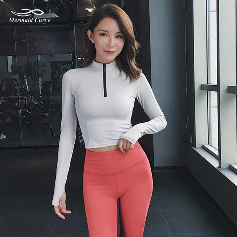 b77dbe099a8 Mermaid Curve 2019 Women Half Zipper Gym Slim Long Sleeve Sport T ...