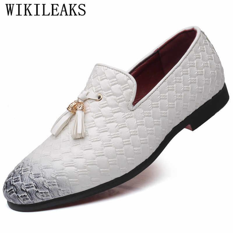 タッセルメンズドレスシューズレザーオックスフォード織り男性ローファーイタリア黒、白ダービー正式な結婚式の靴プラスサイズ 38-48