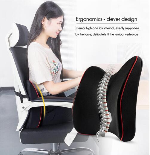 Memory Foam Waist Lumbar Side Support Pillow Spine Coccyx Protect Orthopedic Car Seat Office Sofa Chair Back Cushion