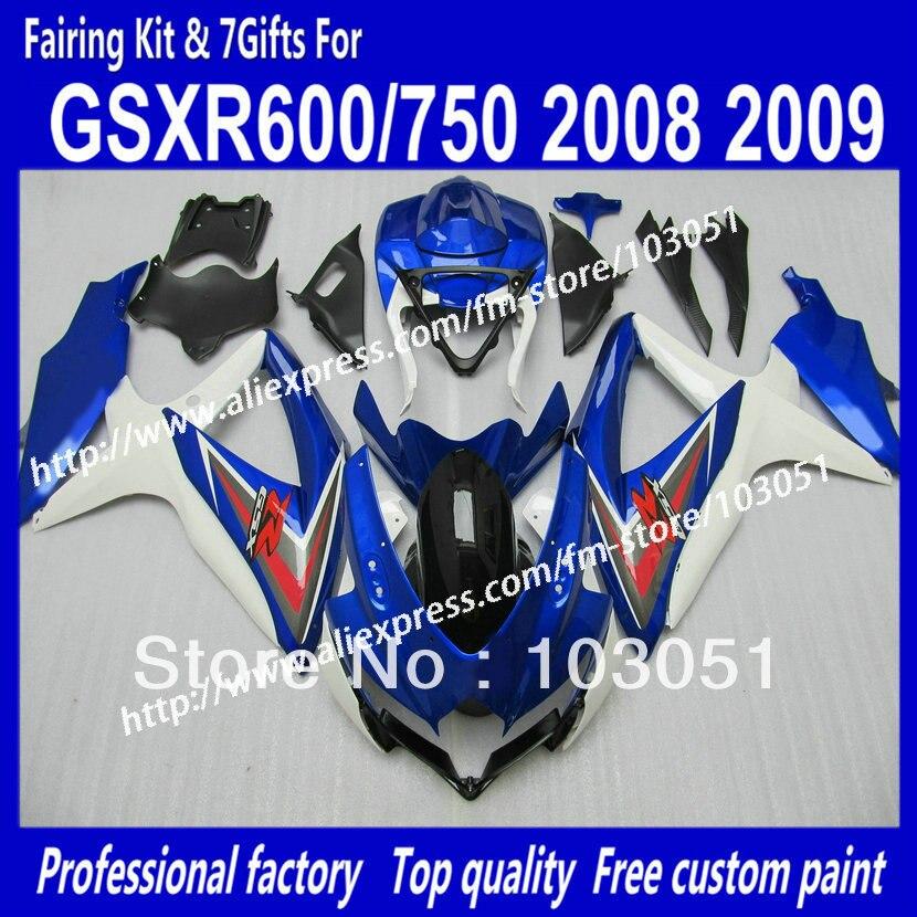 Pour SUZUKI GSXR 600 2008 carénages ensemble GSX R750 2009 carénage GSXR600 GSXR750 08 09 K8 foncé brillant bleu avec blanc SZ18