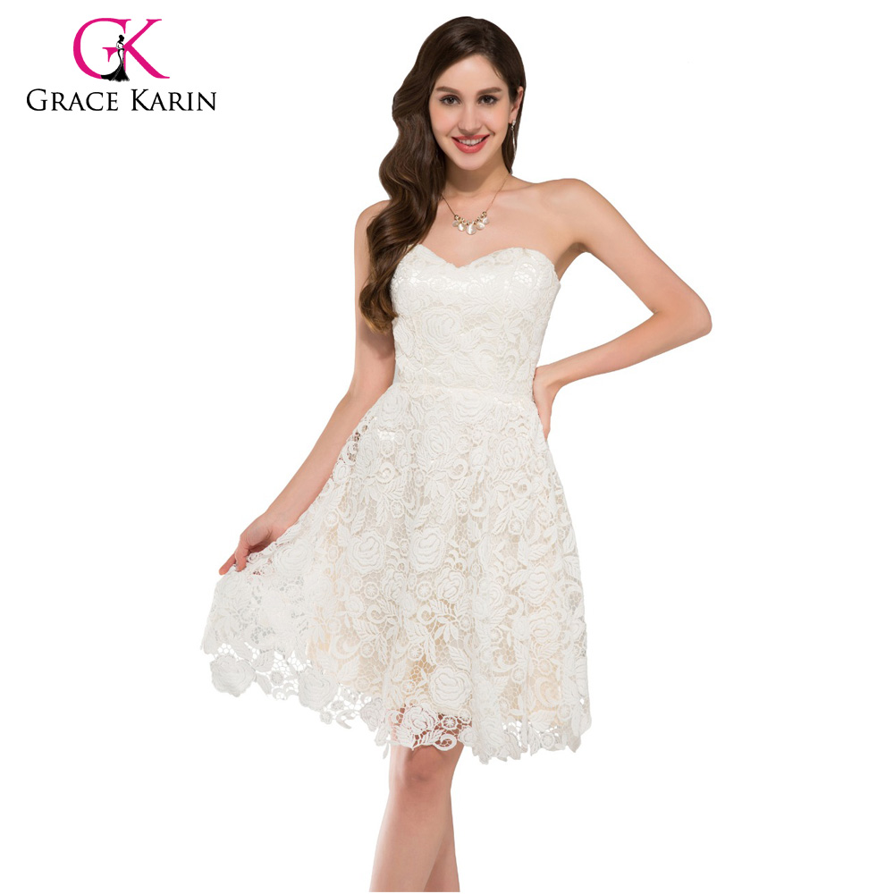 0ed5fd56f62 Grace Karin Ivory Sweetheart Lace Short Prom Dresses Knee Length Elegant  Party Gowns Ballkleider Robe De Cocktail Formal Dress