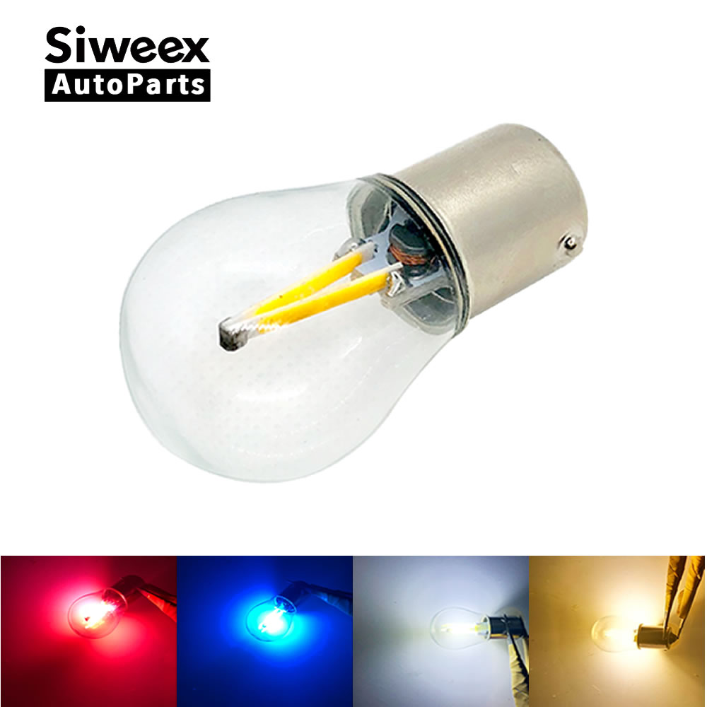 цена на 1 Pcs 1156 BA15S / 1157 BAY15D Auto Car LED 2 COB Filament Reverse Light Parking Tail Blub White Warm White Blue Red 12V