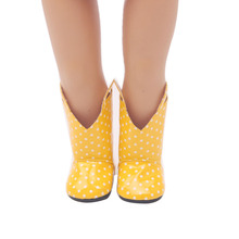 18 inch Girls doll shoes Yellow rain boots PU shoe American newborn accessories Baby toys fit 43 cm baby dolls s21 18 inch girls doll shoes winter woolen slippers casual shoe american newborn accessories baby toys fit 43 cm baby dolls s129