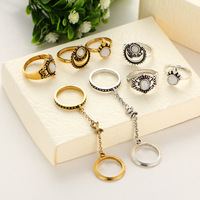 40 Pieces Set Antique Gold Gold Color Knuckle Rings Jewelry Cat S Eye Link Chain Hollow