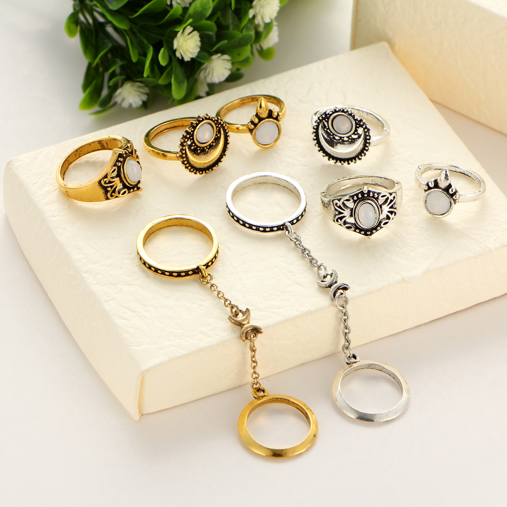 40 pieces/set Antique Gold Gold Color Knuckle Rings Jewelry Cats Eye Link Chain Hollow Flower Moon Sun Midi Finger Ring Sets