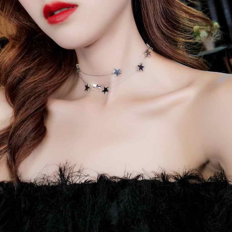 Fashion Sexy Three-layer Handmade String Metal Five-pointed Star Necklace Clavicle Chain Female Wedding Jewelry Short Necklace