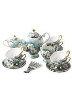 Роскошные костяного фарфора Кофе указан Европейский Керамика посуда набор английский послеобеденный камелии чашки Чёрный чай чашки горшо