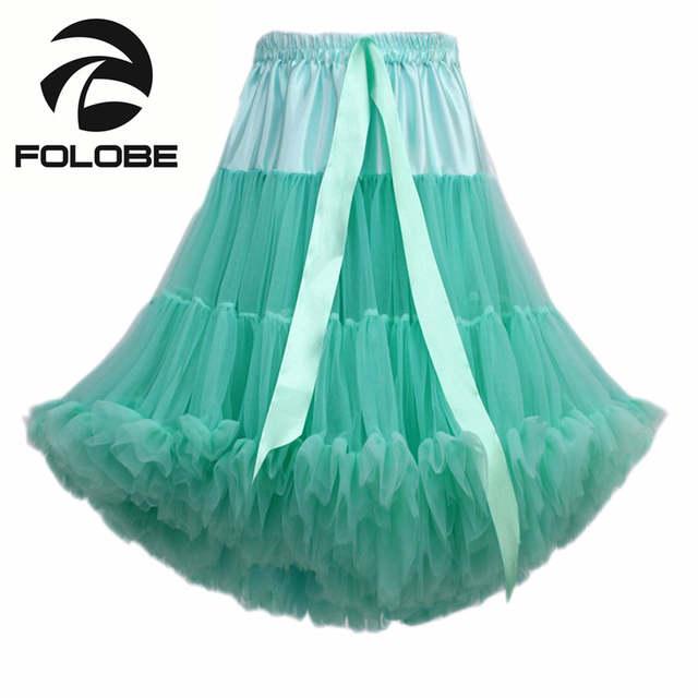 4885d0b2b € 19.15 30% de DESCUENTO|FOLOBE moda Multi Color suave 55 cm mujeres chicas  suave faldas Tutu bailarina vestido de Ballet de baile fiesta faldas ...