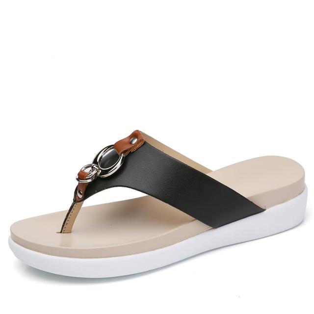 O16U Sandals Women wedge Shoes Slip on Leather platform sandals Ladies heel slides female Slipper sandals summer shoes 2018