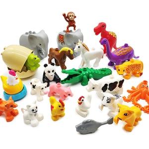 Big size Model Building Blocks accessory children DIY Toys Compatible with Duplo Animals set panda cow giraffe horse Bricks gift(China)
