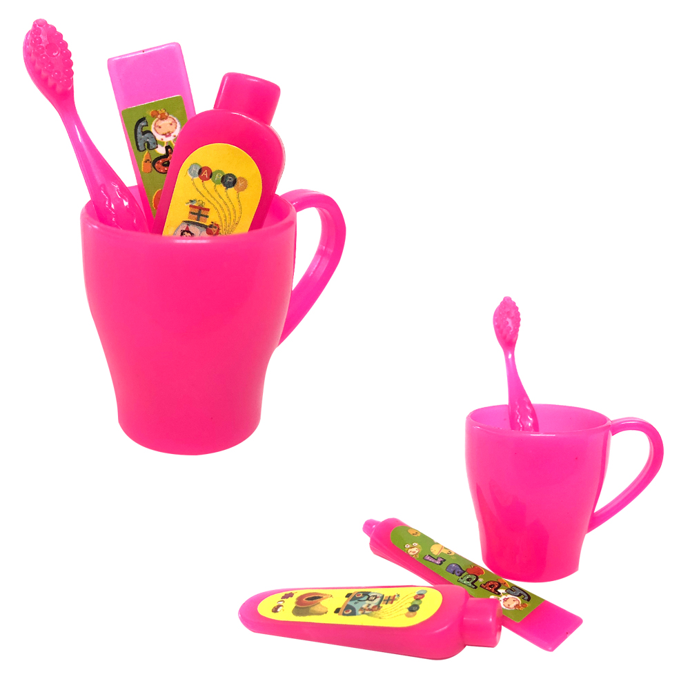 NK 4 Pcs/Set Doll Accessories Mini Toothpaste Kit Toothbrush Cleanser Cup Toothpaste For Barbie Doll  Gift Necessary Toys DZ