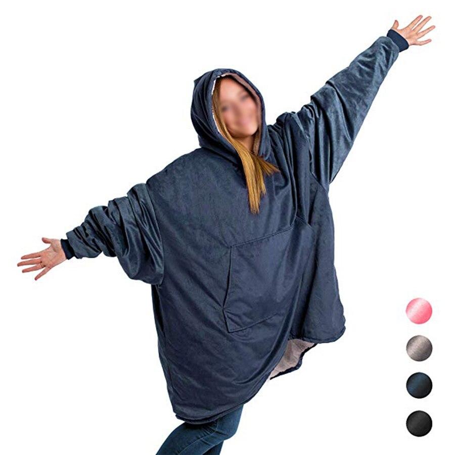 Comfy Hoodie Sweatshirt Blanket Shark Tank Warm Soft Reversible with HoodLarge Pocket One Size (2)