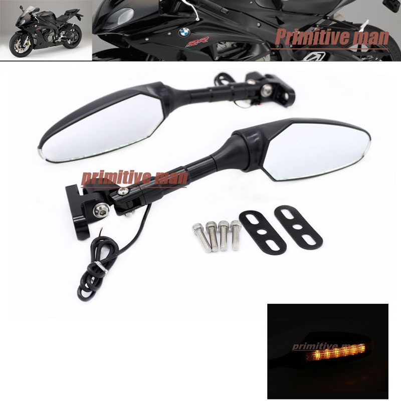 ФОТО For BMW S1000RR 2010-2016 Adjustable LED Turn Signal Light Rear View Mirror