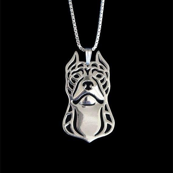 Питбультерьер (укороченные уши) -золотой и серебряный кулон и ожерелье ювелирные простые абстрактные животного Бесплатная доставка 12 шт./ло...