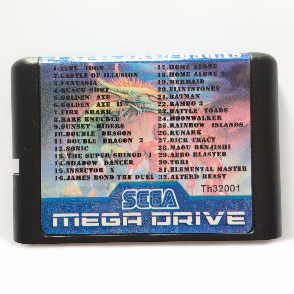 32 In 1 Multi Game Cartridge For 16 bit Sega Mega Drive / Genesis game cartridge fire shark for 16 bit sega megadrive genesis game console