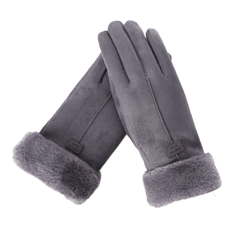 Female Gloves Warm Mitts Furry Autumn Winter Cute New-Fashion Screen-Luvas Sport Full-Finger