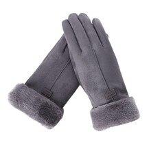 Новые модные женские перчатки осень зима милые пушистые теплые рукавицы полный палец варежки для женщин Спорт на открытом воздухе женские перчатки экран Luvas