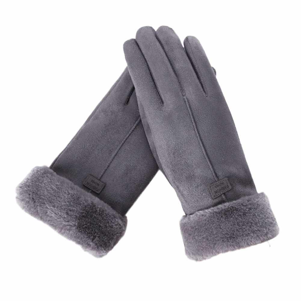 New Fashion Women Gloves Autumn Winter Cute Furry Warm Mitts Full Finger Mittens Women Outdoor Sport Female Gloves Screen Luvas