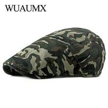 Wuaumx Spring Summer Camouflage Berets Hat For Men Women Visors Flat Cap Unisex Herringbone Newsboy Caps Adjustable chapeau bare