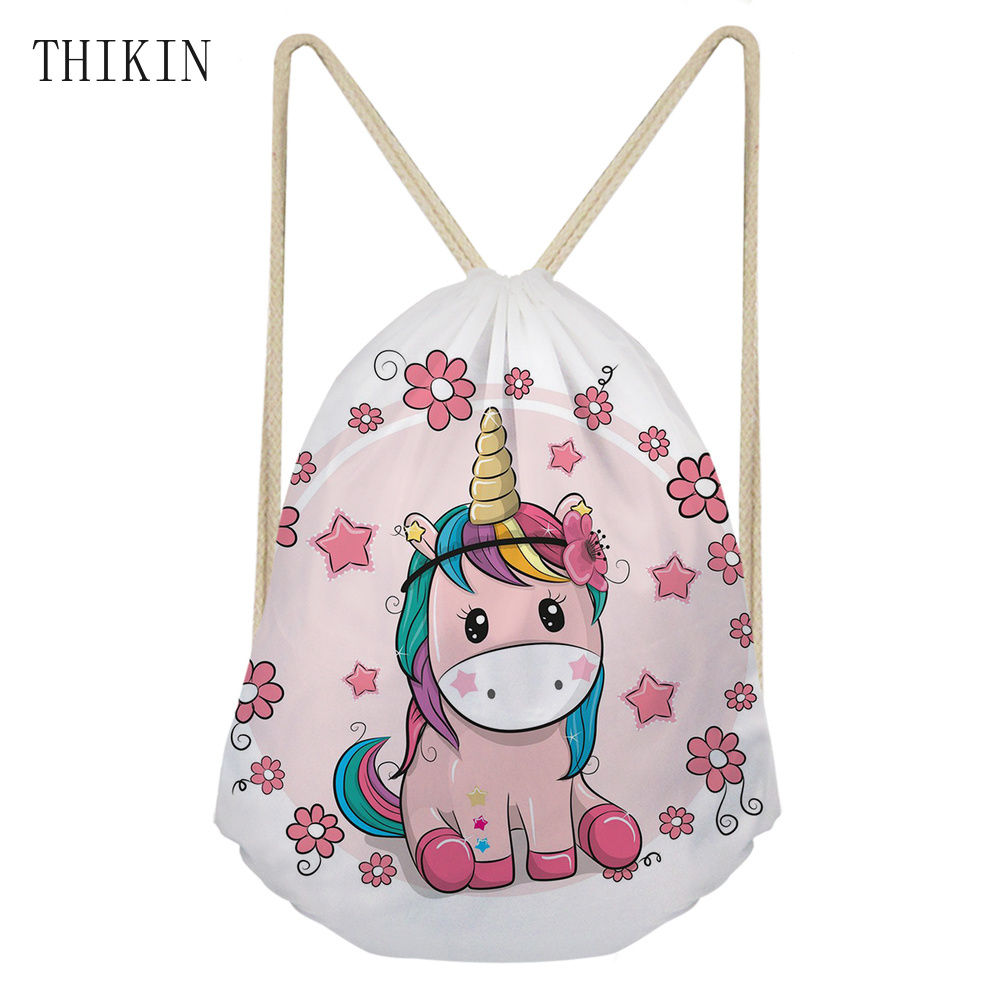 THIKIN Brand Custom Printing With Cute Floral Horse Swimming Bag 2019 New Unicorn Draw-string Sports Bags For Girls Dry Bag
