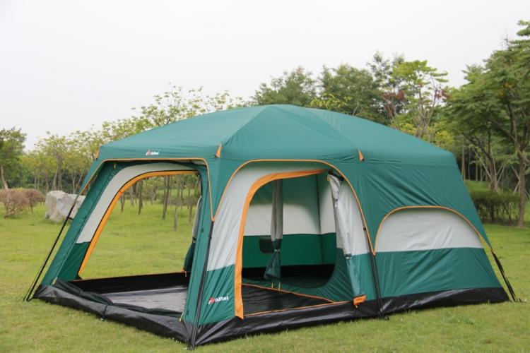 Ultralarge one hall two bedroom double layer 6-12 person use outdoor party family camping tent in one person