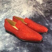 Элитный бренд со стразами обувь из натуральной кожи оксфорды Слипоны мужские свадебные модельные туфли квадратный носок Бизнес кожаная об