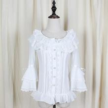 New women Cosplay White Blouse Lo Peplum Tops Tee Lace Shirt tops D931