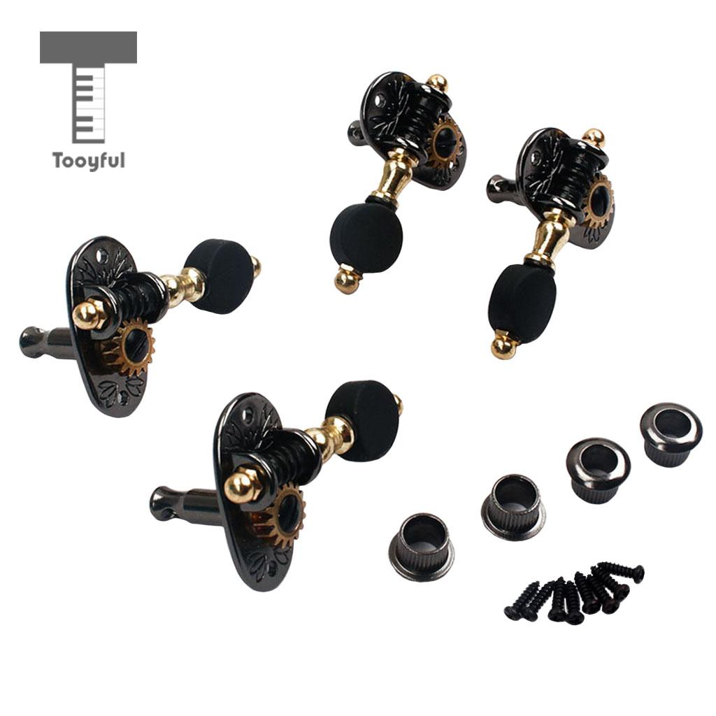 Tooyful 2R2L Ukulele String Tuning Peg Machine Heads Tuner for Cigar Box Guitar Part sews alice aos 020b1p 2pcs left right classical guitar tuning key plated peg tuner machine head string tuner